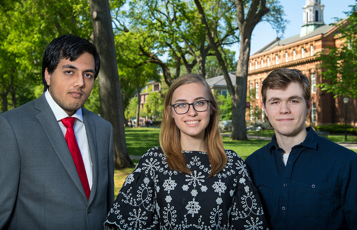 Juniors Rikab Gambhir, Mariya Galochkina, and sophomore Brandon Gomes earned Goldwater Scholarships, designed to encourage outstanding students to pursue careers in mathematics and natural sciences and engineering. Photo: Courtesy of Nick Romanenko